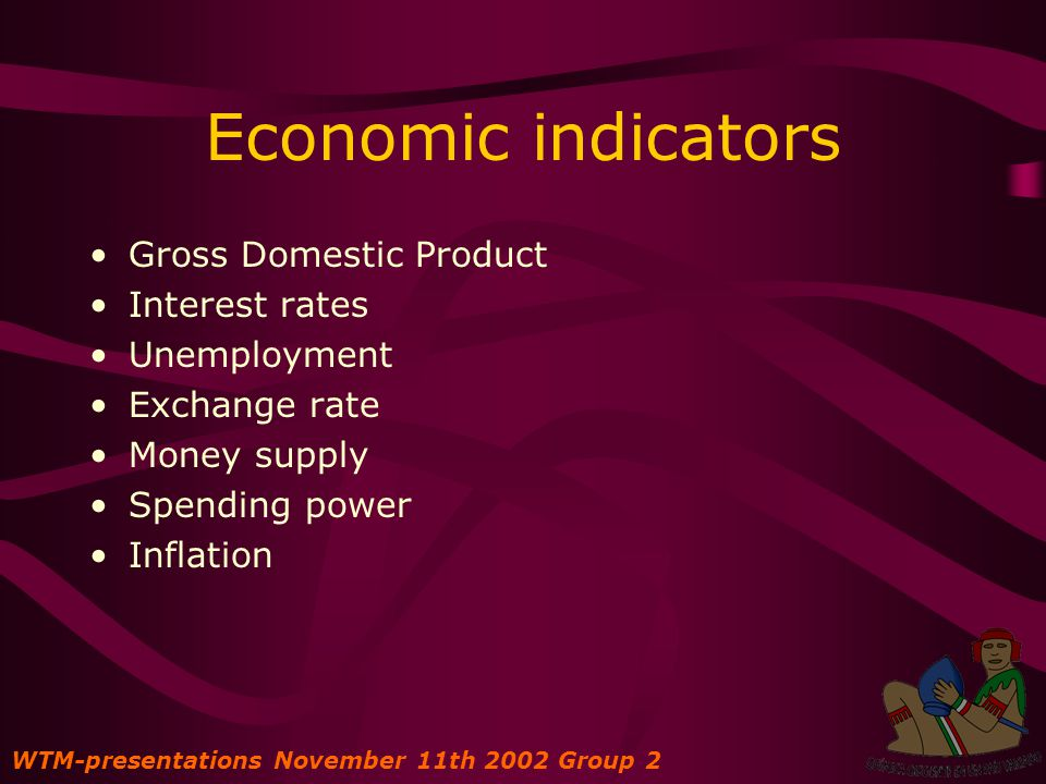 Economic indicators Gross Domestic Product Interest rates Unemployment Exchange rate Money supply Spending power Inflation WTM-presentations November 11th 2002 Group 2
