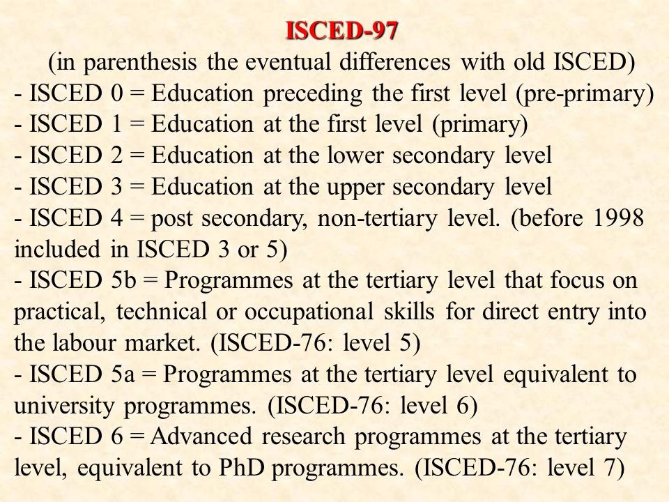 ISCED-97 (in parenthesis the eventual differences with old ISCED) - ISCED 0 = Education preceding the first level (pre-primary) - ISCED 1 = Education at the first level (primary) - ISCED 2 = Education at the lower secondary level - ISCED 3 = Education at the upper secondary level - ISCED 4 = post secondary, non-tertiary level.
