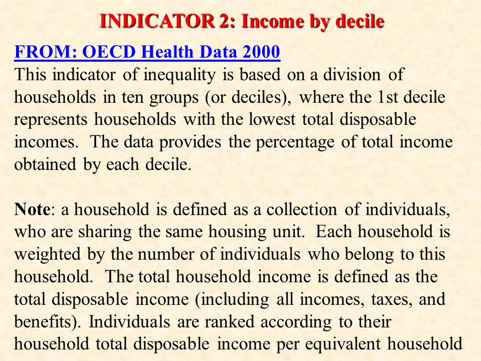 INDICATOR 2: Income by decile FROM: OECD Health Data 2000 This indicator of inequality is based on a division of households in ten groups (or deciles), where the 1st decile represents households with the lowest total disposable incomes.