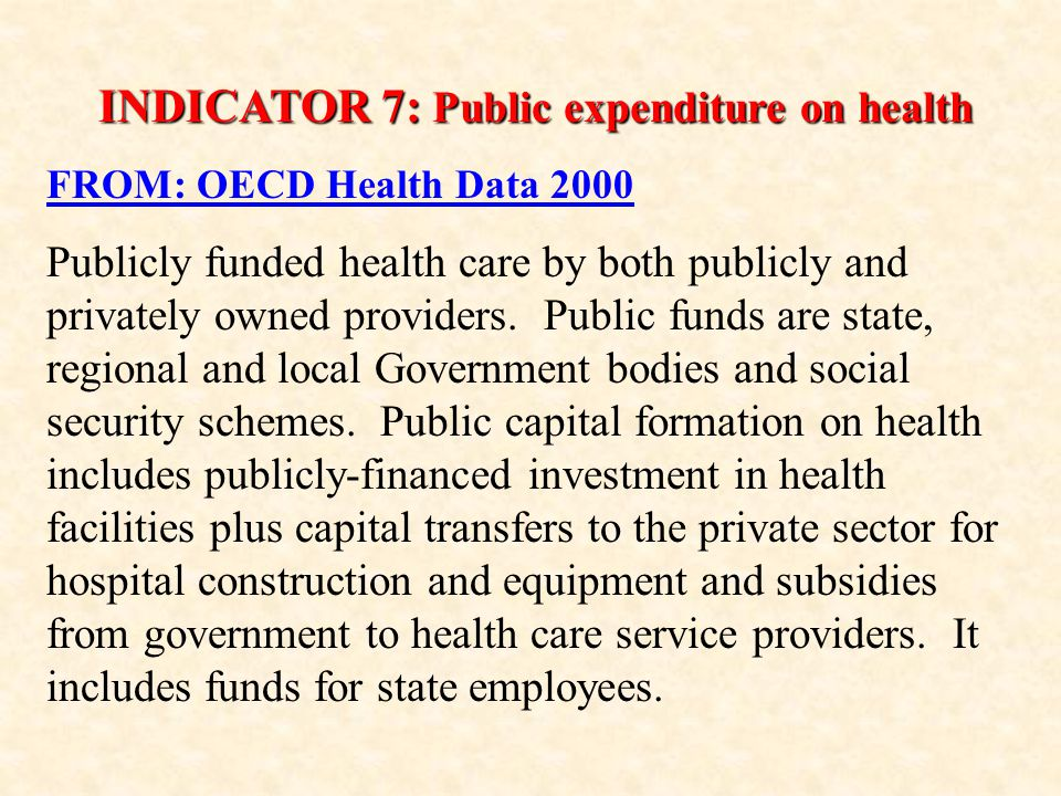 INDICATOR 7: Public expenditure on health FROM: OECD Health Data 2000 Publicly funded health care by both publicly and privately owned providers.