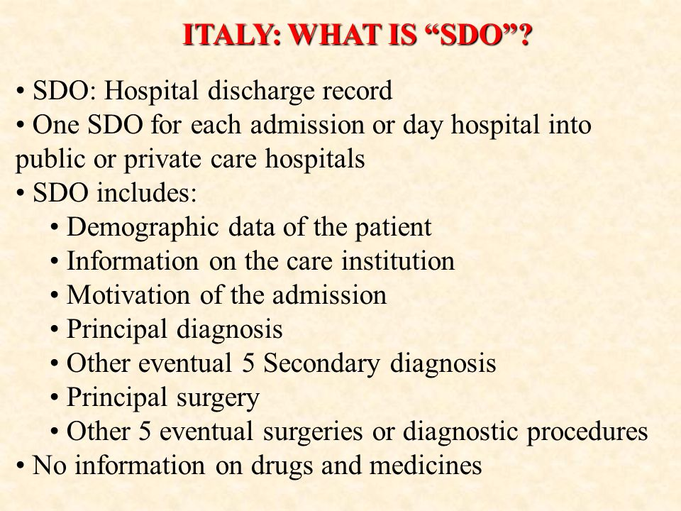ITALY: WHAT IS SDO.