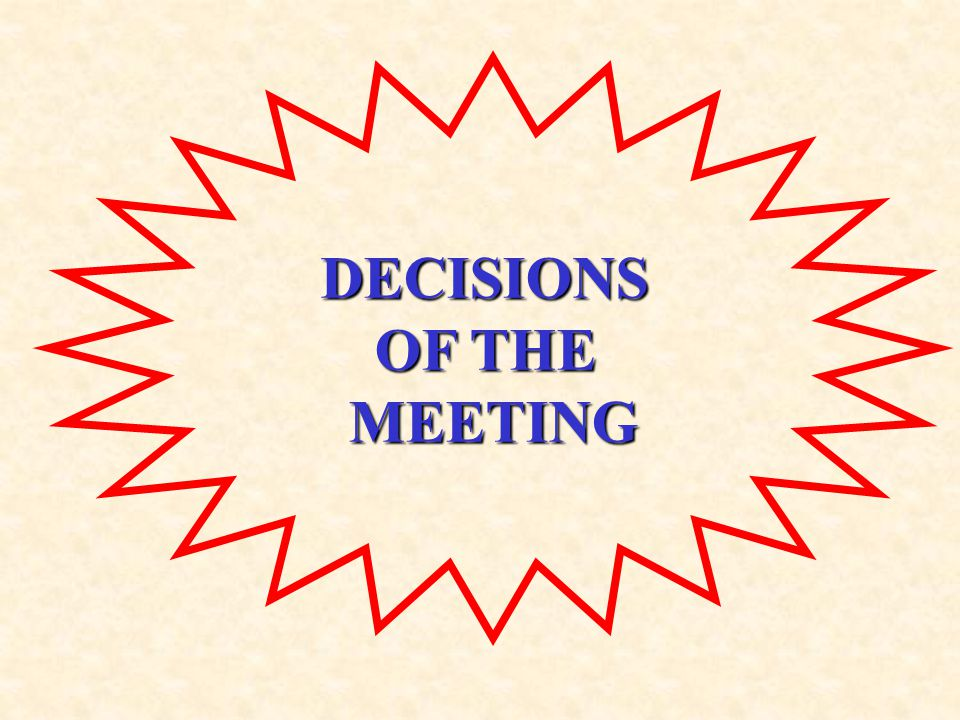 DECISIONS OF THE MEETING