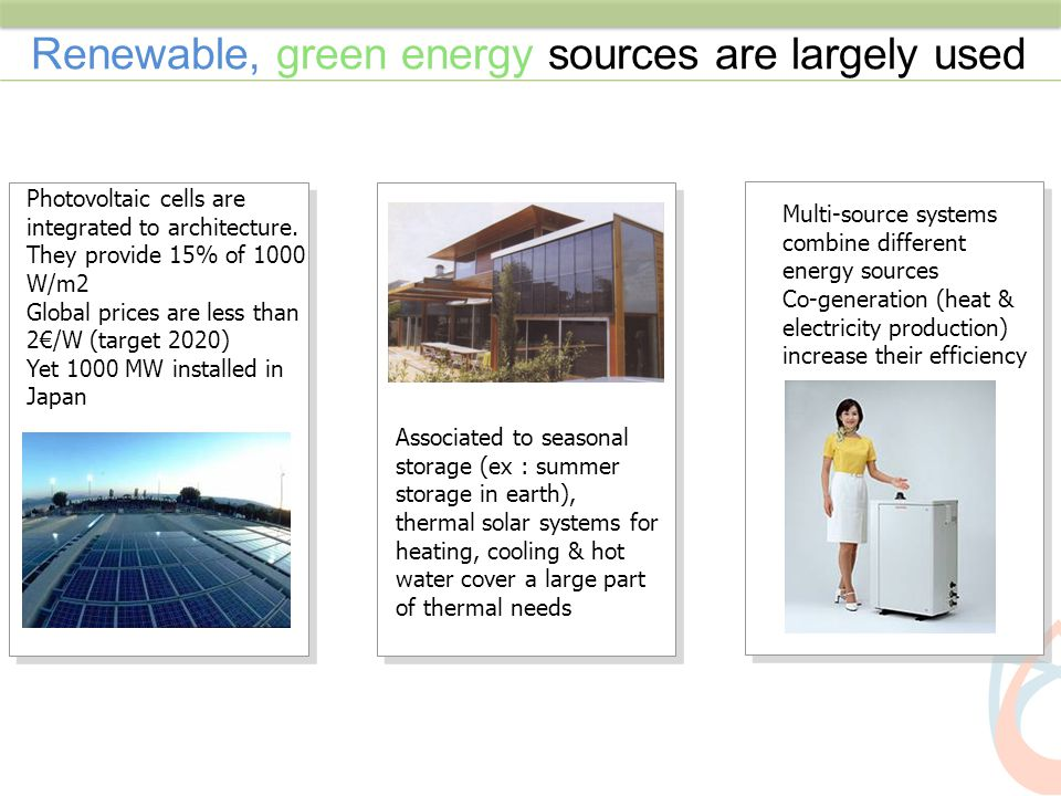 Renewable, green energy sources are largely used Multi-source systems combine different energy sources Co-generation (heat & electricity production) i