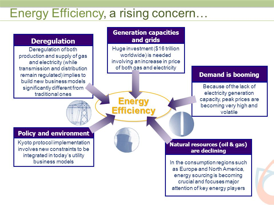 Energy Efficiency has implications along the complete Energy value chain Optimize T&D infrastructure Deploy efficient substation automation Upgrade to smart metering solutions Optimize quality Measure and improve delivered power quality Implement DG in frequently congested areas Influence demand consumption Introduce new tariff structures and smart revenue metering Provide customers with accurate and relevant consumption data Deploy modern IT infrastructure High speed telecoms infrastructure Modern Energy Information Systems On the Supply Side