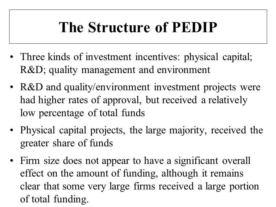 The Structure of PEDIP Three kinds of investment incentives: physical capital; R&D; quality management and environment R&D and quality/environment investment projects were had higher rates of approval, but received a relatively low percentage of total funds Physical capital projects, the large majority, received the greater share of funds Firm size does not appear to have a significant overall effect on the amount of funding, although it remains clear that some very large firms received a large portion of total funding.