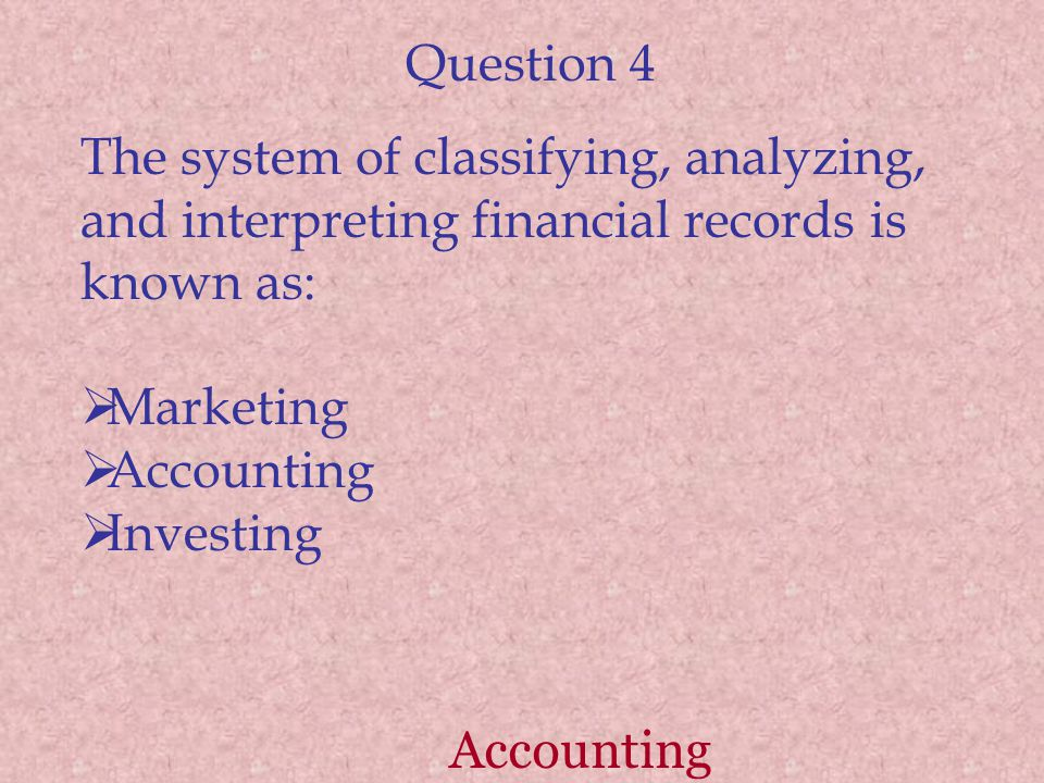 Question 4 The system of classifying, analyzing, and interpreting financial records is known as: Marketing Accounting Investing Accounting