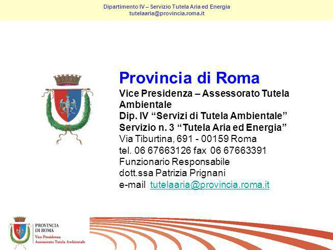 22/ Dipartimento IV – Servizio Tutela Aria ed Energia tutelaaria@provincia.roma.it Thanks for your attention Grazie per lattenzione