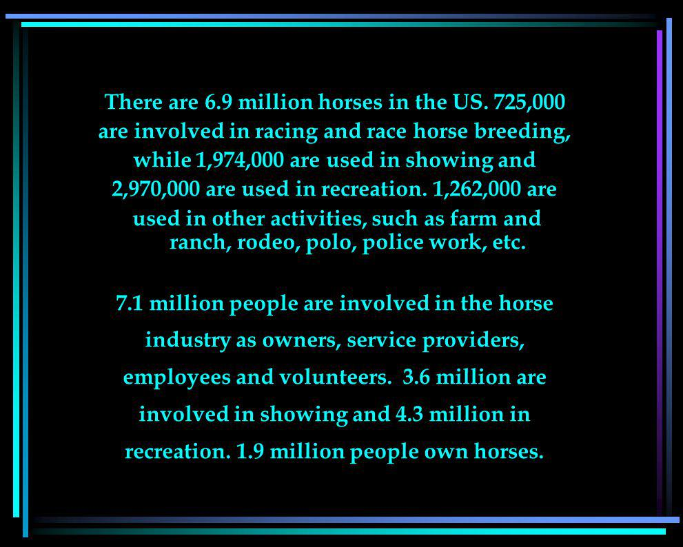 There are 6.9 million horses in the US.