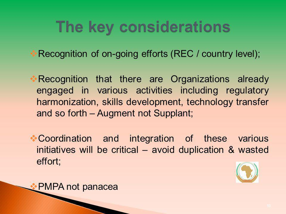 Recognition of on-going efforts (REC / country level); Recognition that there are Organizations already engaged in various activities including regulatory harmonization, skills development, technology transfer and so forth – Augment not Supplant; Coordination and integration of these various initiatives will be critical – avoid duplication & wasted effort; PMPA not panacea 10