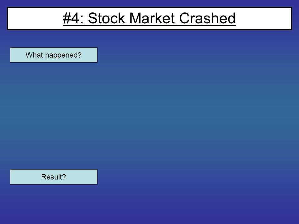 #4: Stock Market Crashed What happened? Result?