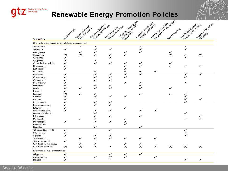Angelika Wasielke Renewable Energy Promotion Policies