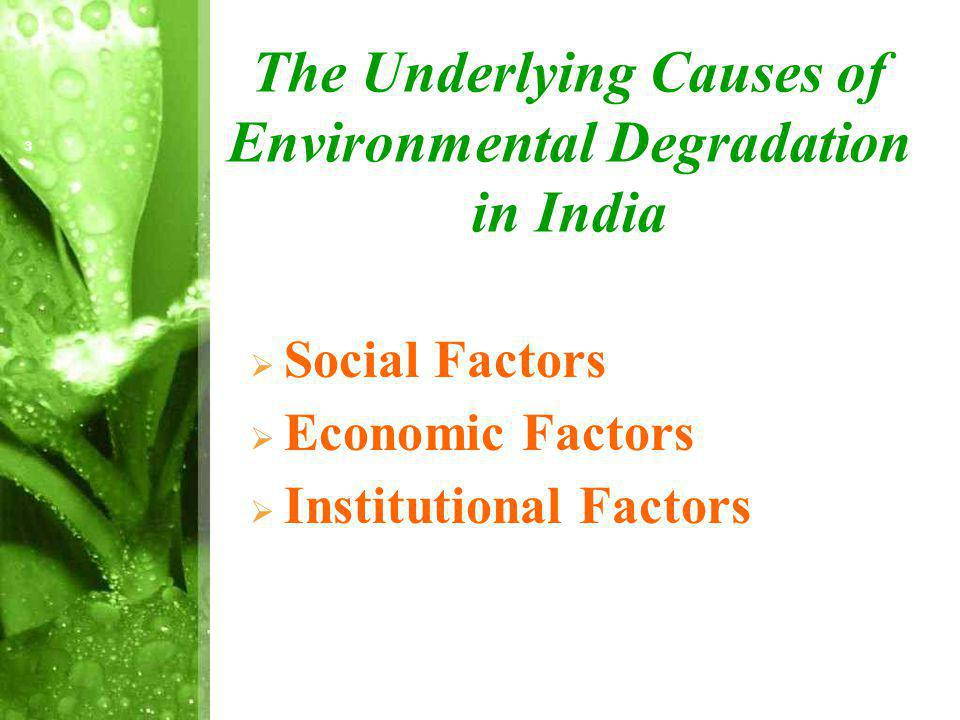 The Underlying Causes of Environmental Degradation in India Social Factors Economic Factors Institutional Factors 3