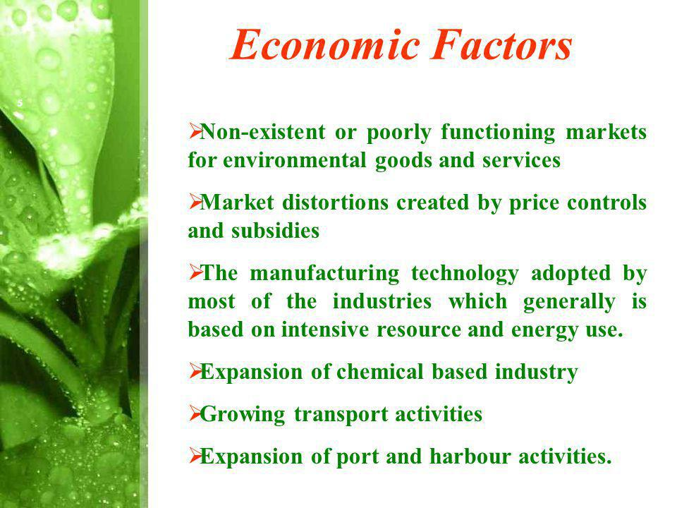 Economic Factors Non-existent or poorly functioning markets for environmental goods and services Market distortions created by price controls and subsidies The manufacturing technology adopted by most of the industries which generally is based on intensive resource and energy use.