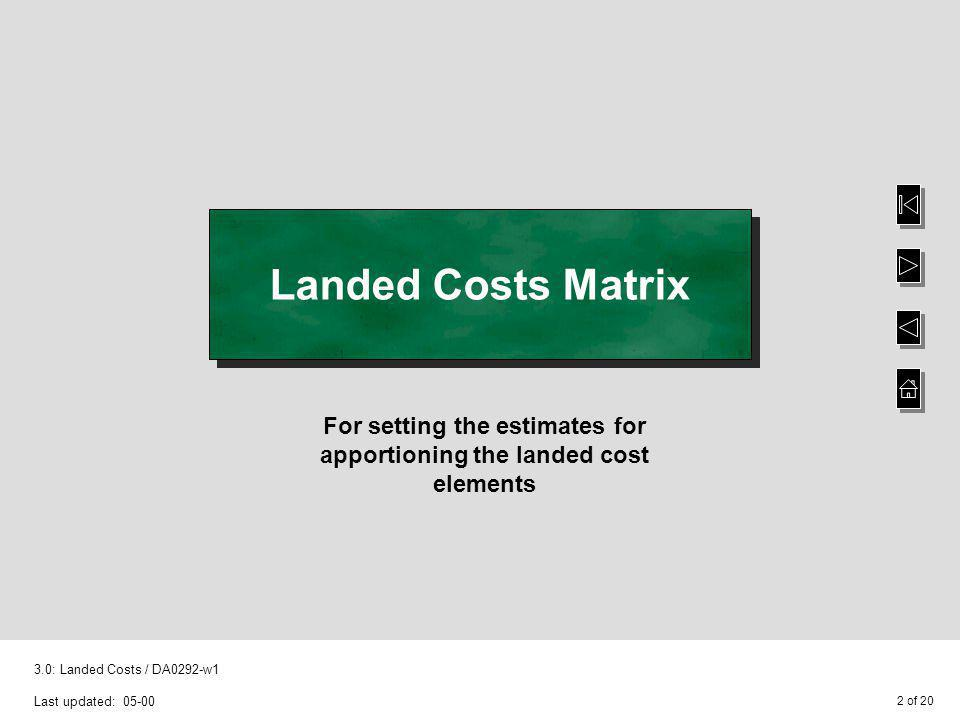 3 of 20 3.0: Landed Costs / DA0292-w1 Last updated: 05-00 Suspended Landed Costs Matrix option - Purchase Order Processing This is a new option If you apportion landed costs, this option functions in a similar manner to the existing Landed Costs Matrix option However, one enhancement to both the existing Landed Cost Matrix and the Suspended Landed Cost Matrix is that only one category from either the Supplier or the Stock file is now required to create the matrix – previously both categories had to be entered Note: If the existing Landed Costs functionality is in use, running the Suspended Receipts Conversion option will extend the existing Landed Costs Matrix from 4 add-on costs up to a maximum of 10 add-on costs