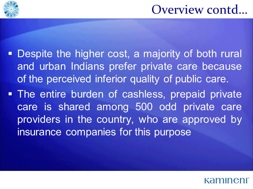 Overview contd… Despite the higher cost, a majority of both rural and urban Indians prefer private care because of the perceived inferior quality of public care.