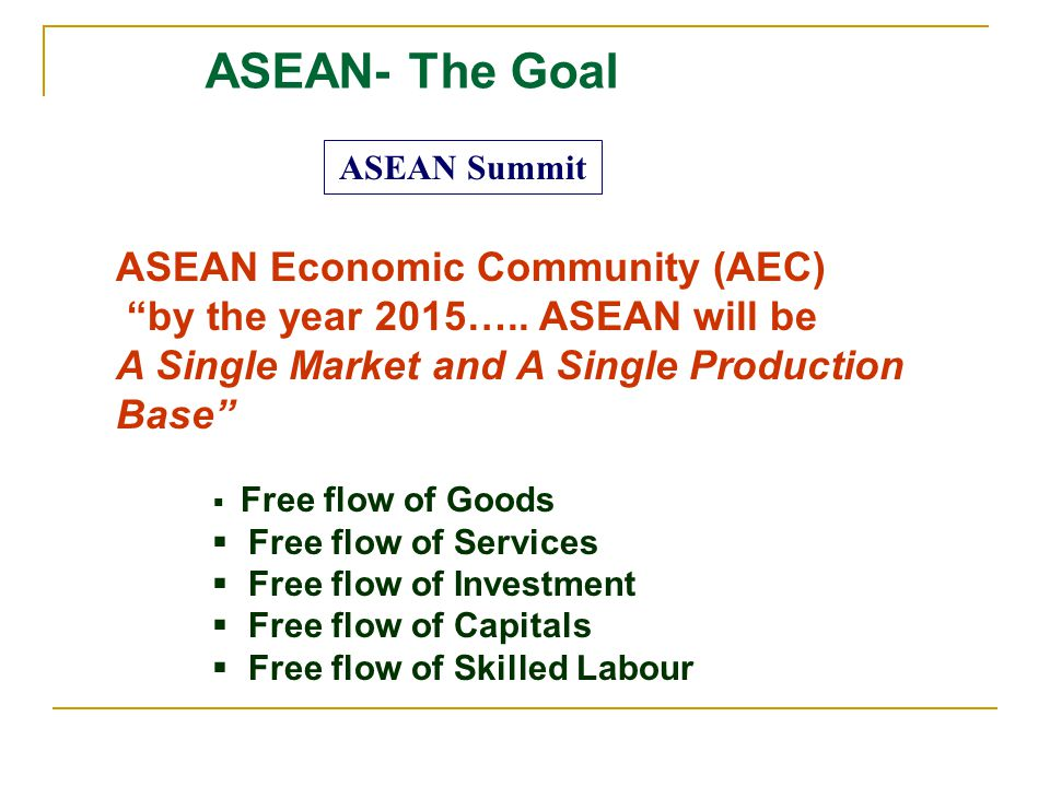 ASEAN Summit ASEAN- The Goal ASEAN Economic Community (AEC) by the year 2015….. ASEAN will be A Single Market and A Single Production Base Free flow o