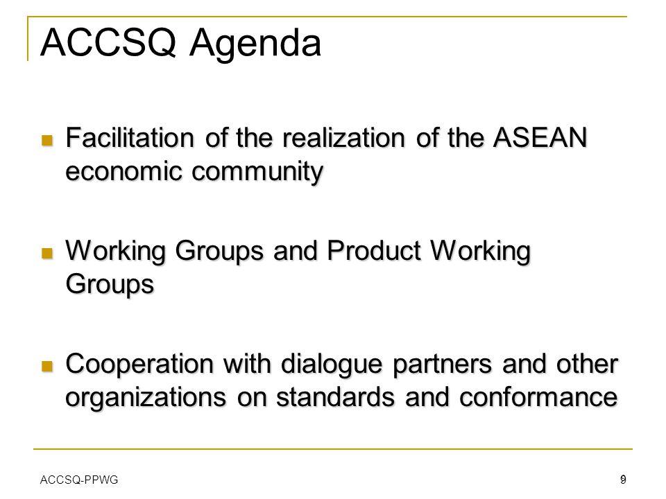 ACCSQ-PPWG 9 ACCSQ Agenda Facilitation of the realization of the ASEAN economic community Facilitation of the realization of the ASEAN economic commun