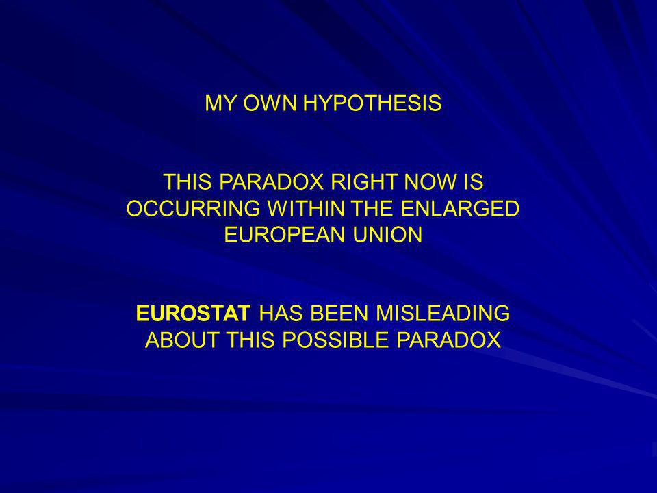 MY OWN HYPOTHESIS THIS PARADOX RIGHT NOW IS OCCURRING WITHIN THE ENLARGED EUROPEAN UNION EUROSTAT HAS BEEN MISLEADING ABOUT THIS POSSIBLE PARADOX