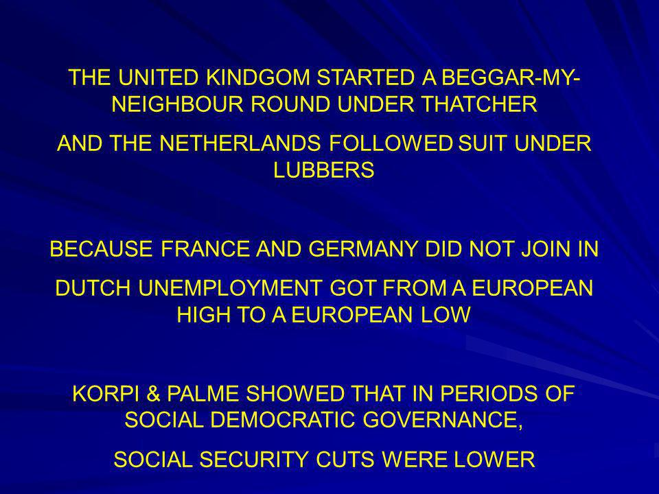 THE UNITED KINDGOM STARTED A BEGGAR-MY- NEIGHBOUR ROUND UNDER THATCHER AND THE NETHERLANDS FOLLOWED SUIT UNDER LUBBERS BECAUSE FRANCE AND GERMANY DID