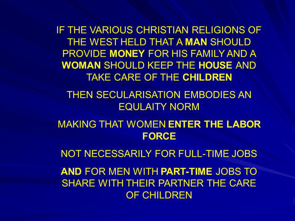 IF THE VARIOUS CHRISTIAN RELIGIONS OF THE WEST HELD THAT A MAN SHOULD PROVIDE MONEY FOR HIS FAMILY AND A WOMAN SHOULD KEEP THE HOUSE AND TAKE CARE OF