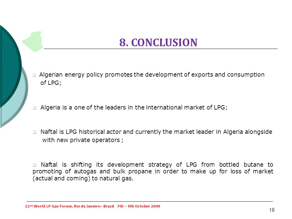 18 8. CONCLUSION Algerian energy policy promotes the development of exports and consumption of LPG; Algeria is a one of the leaders in the internation