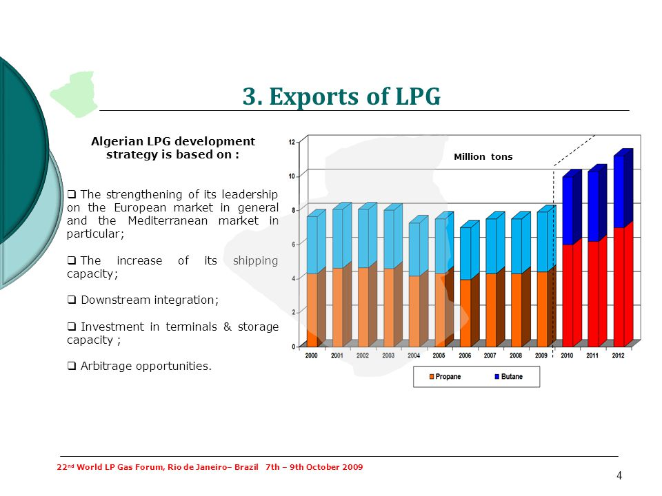 4 3. Exports of LPG Algerian LPG development strategy is based on : The strengthening of its leadership on the European market in general and the Medi