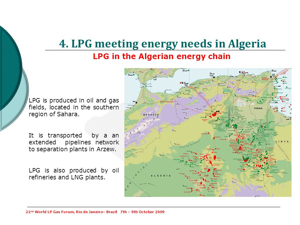 LPG in the Algerian energy chain 4. LPG meeting energy needs in Algeria 22 nd World LP Gas Forum, Rio de Janeiro– Brazil 7th – 9th October 2009 LPG is