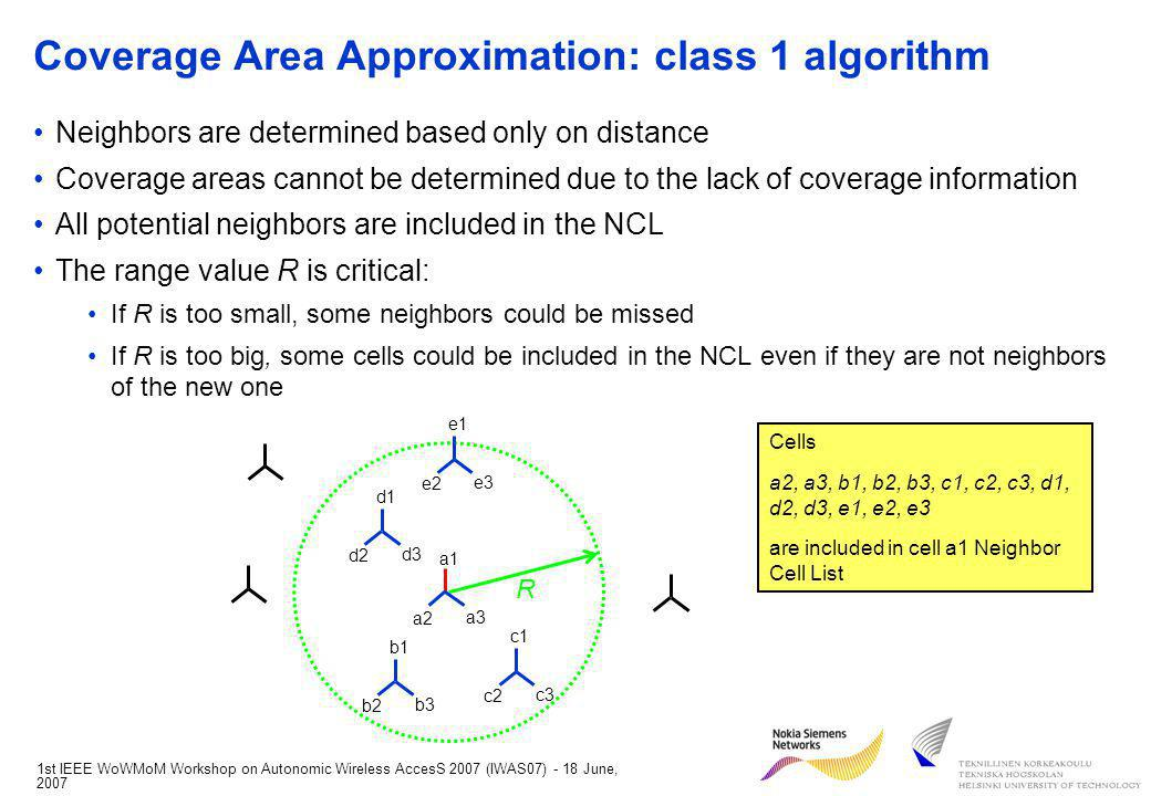 1st IEEE WoWMoM Workshop on Autonomic Wireless AccesS 2007 (IWAS07) - 18 June, 2007 Conclusions A procedure for automatically defining the NCL and updating the adjacencies accordingly in the network was defined The procedure is carried out by a self-configuration functionality The considered procedure allows for a flexible approach to self-configuration The NCL can be retrieved from a database or calculated online, depending on the amount of available planning data The implementation can follow either a centralized or a distributed approach