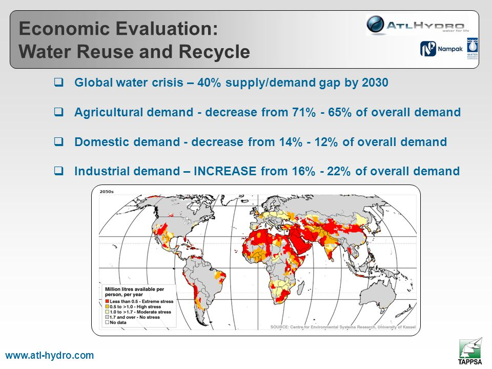 Global water crisis – 40% supply/demand gap by 2030 Agricultural demand - decrease from 71% - 65% of overall demand Domestic demand - decrease from 14