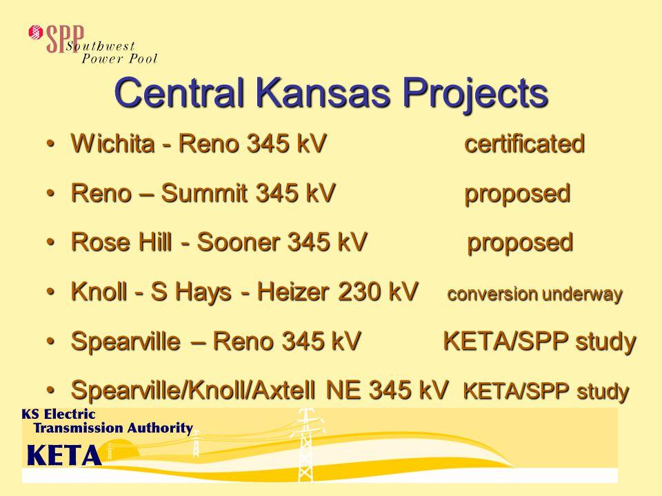 Central Kansas Projects Wichita - Reno 345 kV certificatedWichita - Reno 345 kV certificated Reno – Summit 345 kV proposedReno – Summit 345 kV proposed Rose Hill - Sooner 345 kV proposedRose Hill - Sooner 345 kV proposed Knoll - S Hays - Heizer 230 kV conversion underwayKnoll - S Hays - Heizer 230 kV conversion underway Spearville – Reno 345 kVKETA/SPP studySpearville – Reno 345 kVKETA/SPP study Spearville/Knoll/Axtell NE 345 kV KETA/SPP studySpearville/Knoll/Axtell NE 345 kV KETA/SPP study