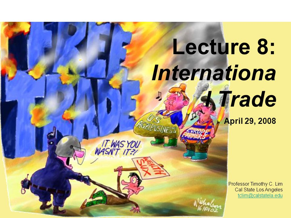 Lecture 8: Internationa l Trade April 29, 2008 Professor Timothy C.