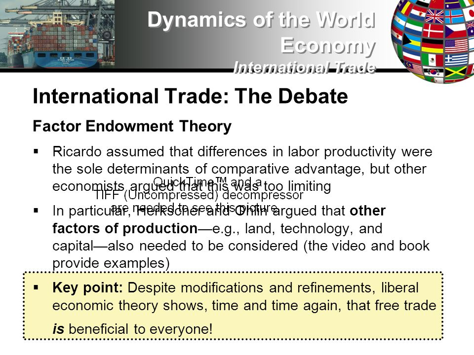 International Trade: The Debate Factor Endowment Theory Ricardo assumed that differences in labor productivity were the sole determinants of comparative advantage, but other economists argued that this was too limiting In particular, Herkscher and Ohlin argued that other factors of productione.g., land, technology, and capitalalso needed to be considered (the video and book provide examples) Key point: Despite modifications and refinements, liberal economic theory shows, time and time again, that free trade is beneficial to everyone.