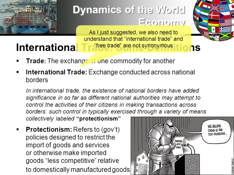 International Trade: The Debate Recognizing The Facts of Life Liberal theory is well and fine if power and inequality are ignored; but, when we recognize these aspects of the real world, we understand that states must … Nurture and protect their own domestic manufacturers, often through infant industry policies Put national security needs above the principles of free trade, which means ensuring a manufacturing base, maintaining access to critical resources (including food) and technology, etc.
