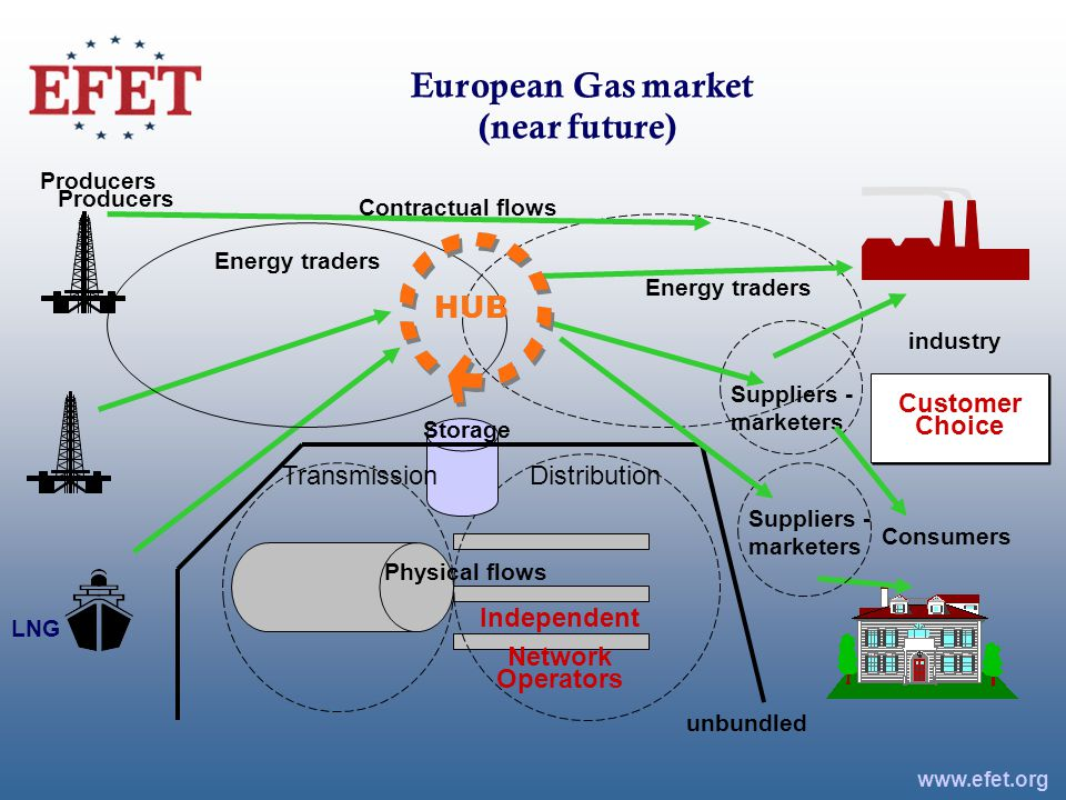 European Gas market (near future) industry Consumers Distribution Energy traders www.efet.org Energy traders Suppliers - marketers Producers LNG Storage HUB unbundled Suppliers - marketers Contractual flows Producers Physical flows Customer Choice Independent Network Operators Transmission