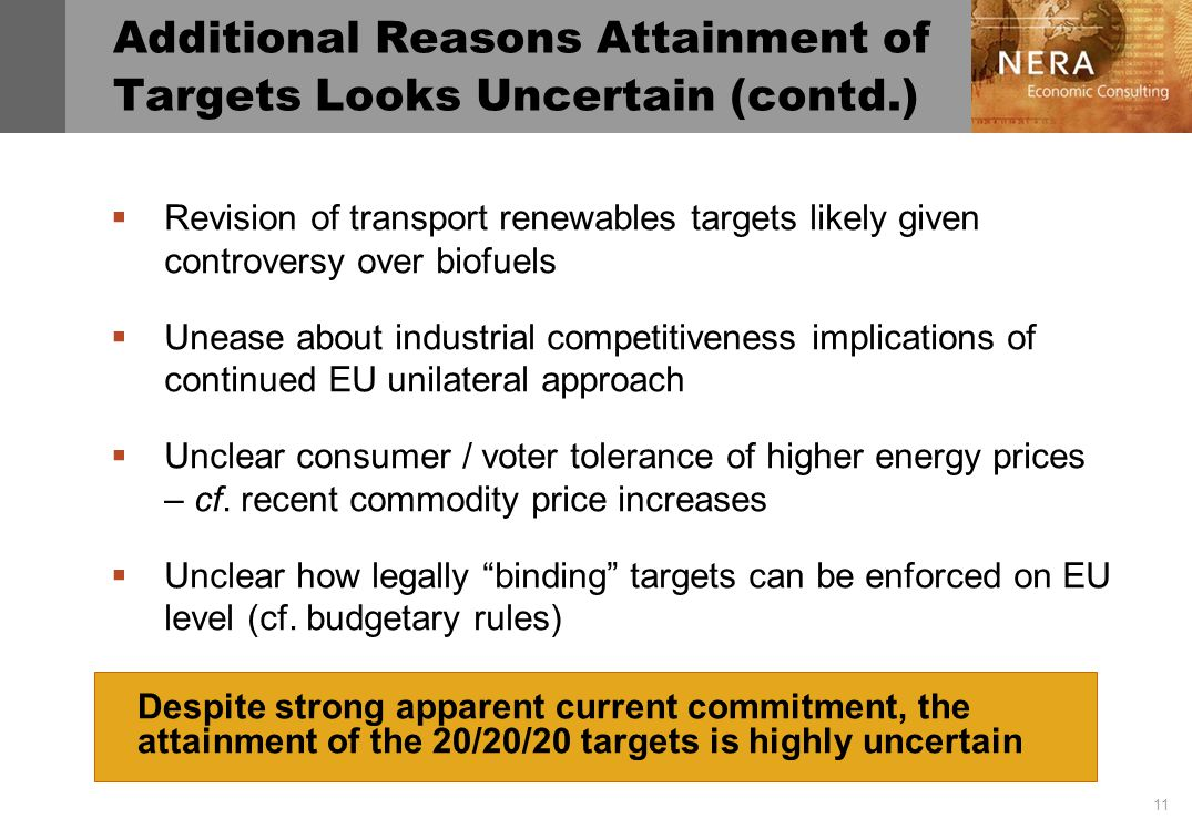 11 Additional Reasons Attainment of Targets Looks Uncertain (contd.) Revision of transport renewables targets likely given controversy over biofuels Unease about industrial competitiveness implications of continued EU unilateral approach Unclear consumer / voter tolerance of higher energy prices – cf.