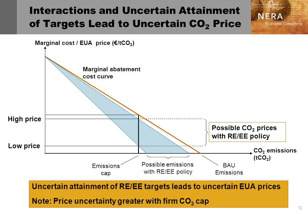 12 Interactions and Uncertain Attainment of Targets Lead to Uncertain CO 2 Price Marginal abatement cost curve CO 2 emissions (tCO 2 ) Marginal cost / EUA price (/tCO 2 ) Uncertain attainment of RE/EE targets leads to uncertain EUA prices Note: Price uncertainty greater with firm CO 2 cap Possible CO 2 prices with RE/EE policy High price Low price Emissions cap BAU Emissions Possible emissions with RE/EE policy