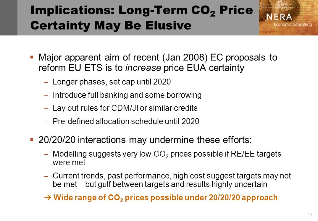 13 Implications: Long-Term CO 2 Price Certainty May Be Elusive Major apparent aim of recent (Jan 2008) EC proposals to reform EU ETS is to increase price EUA certainty –Longer phases, set cap until 2020 –Introduce full banking and some borrowing –Lay out rules for CDM/JI or similar credits –Pre-defined allocation schedule until 2020 20/20/20 interactions may undermine these efforts: –Modelling suggests very low CO 2 prices possible if RE/EE targets were met –Current trends, past performance, high cost suggest targets may not be metbut gulf between targets and results highly uncertain Wide range of CO 2 prices possible under 20/20/20 approach