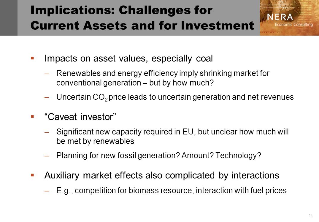 14 Implications: Challenges for Current Assets and for Investment Impacts on asset values, especially coal –Renewables and energy efficiency imply shrinking market for conventional generation – but by how much.
