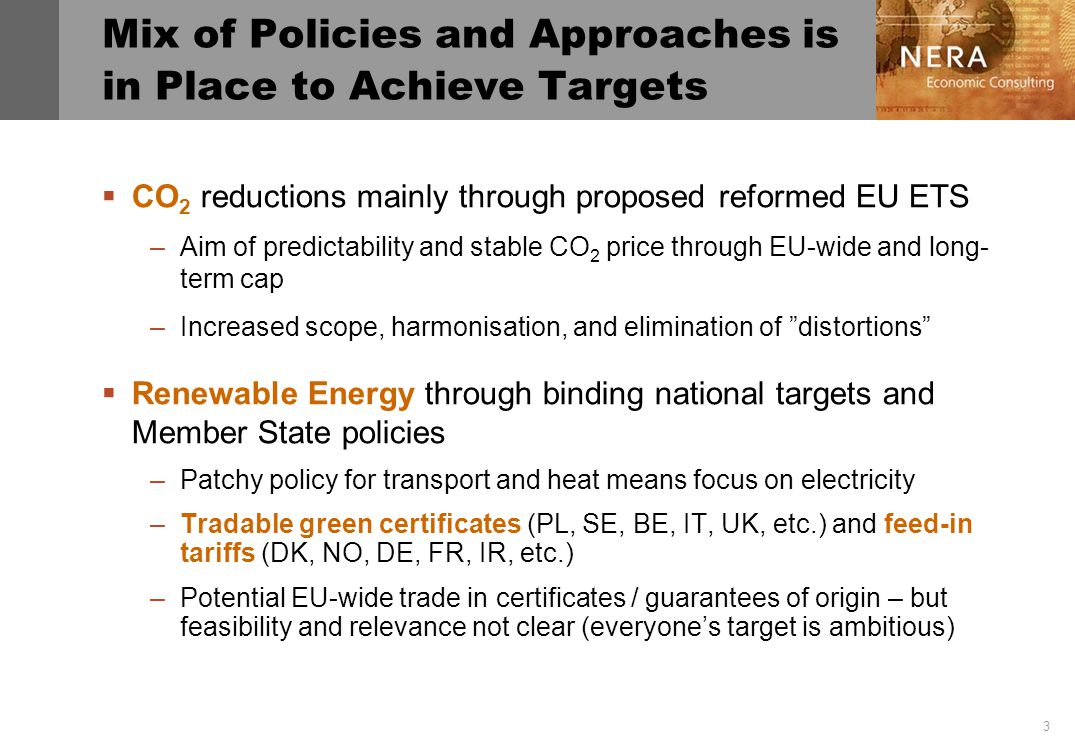 3 Mix of Policies and Approaches is in Place to Achieve Targets CO 2 reductions mainly through proposed reformed EU ETS –Aim of predictability and stable CO 2 price through EU-wide and long- term cap –Increased scope, harmonisation, and elimination of distortions Renewable Energy through binding national targets and Member State policies –Patchy policy for transport and heat means focus on electricity –Tradable green certificates (PL, SE, BE, IT, UK, etc.) and feed-in tariffs (DK, NO, DE, FR, IR, etc.) –Potential EU-wide trade in certificates / guarantees of origin – but feasibility and relevance not clear (everyones target is ambitious)