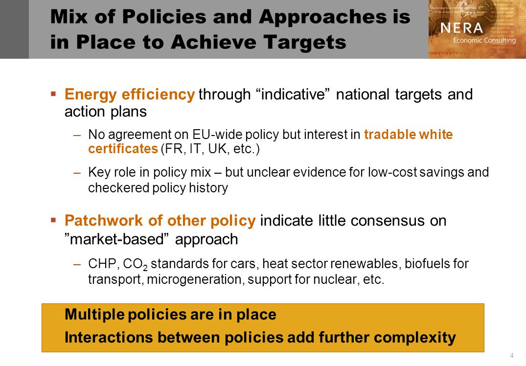 4 Mix of Policies and Approaches is in Place to Achieve Targets Energy efficiency through indicative national targets and action plans –No agreement on EU-wide policy but interest in tradable white certificates (FR, IT, UK, etc.) –Key role in policy mix – but unclear evidence for low-cost savings and checkered policy history Patchwork of other policy indicate little consensus on market-based approach –CHP, CO 2 standards for cars, heat sector renewables, biofuels for transport, microgeneration, support for nuclear, etc.