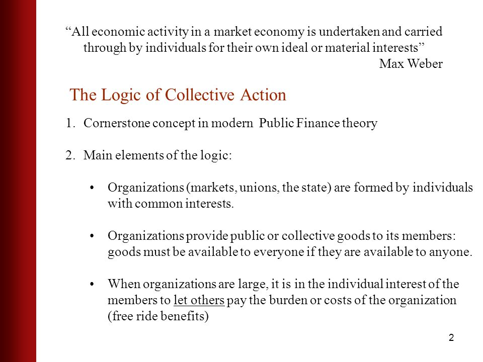 2 All economic activity in a market economy is undertaken and carried through by individuals for their own ideal or material interests Max Weber 1.Cornerstone concept in modern Public Finance theory 2.Main elements of the logic: Organizations (markets, unions, the state) are formed by individuals with common interests.