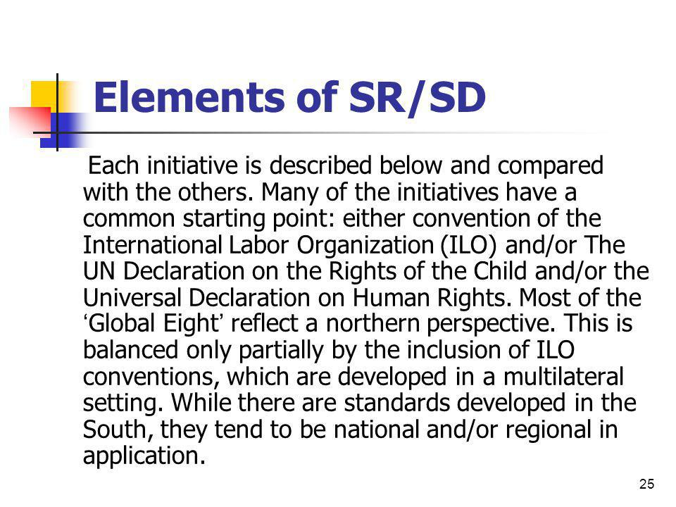 25 Elements of SR/SD Each initiative is described below and compared with the others. Many of the initiatives have a common starting point: either con