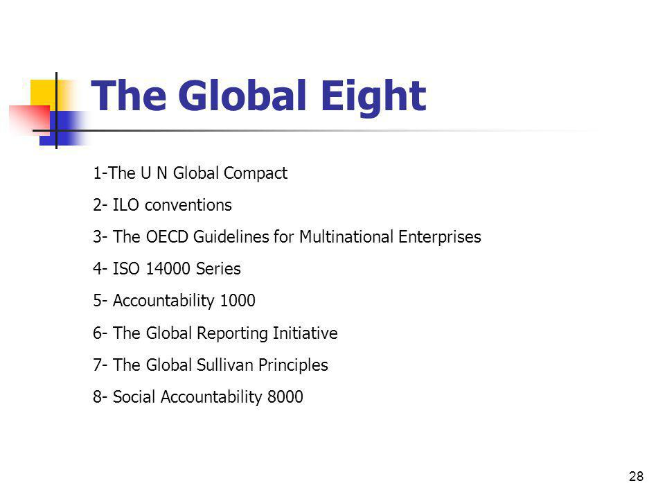 28 The Global Eight 1-The U N Global Compact 2- ILO conventions 3- The OECD Guidelines for Multinational Enterprises 4- ISO 14000 Series 5- Accountabi