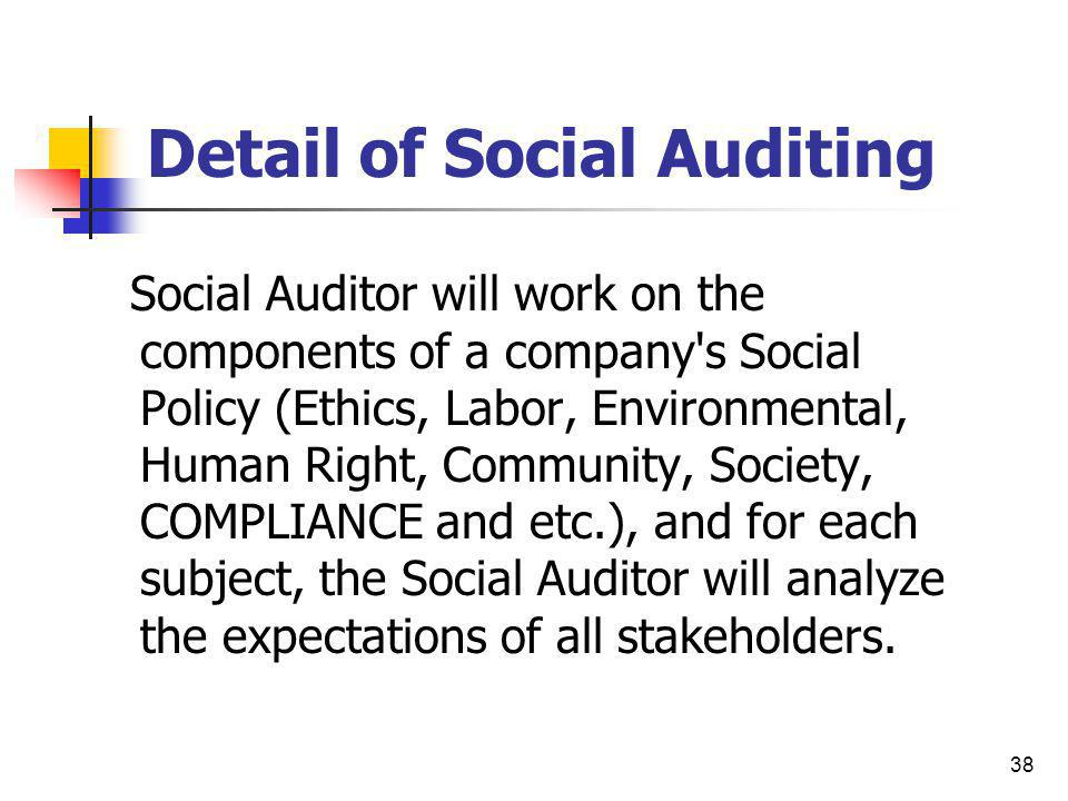 38 Detail of Social Auditing Social Auditor will work on the components of a company's Social Policy (Ethics, Labor, Environmental, Human Right, Commu