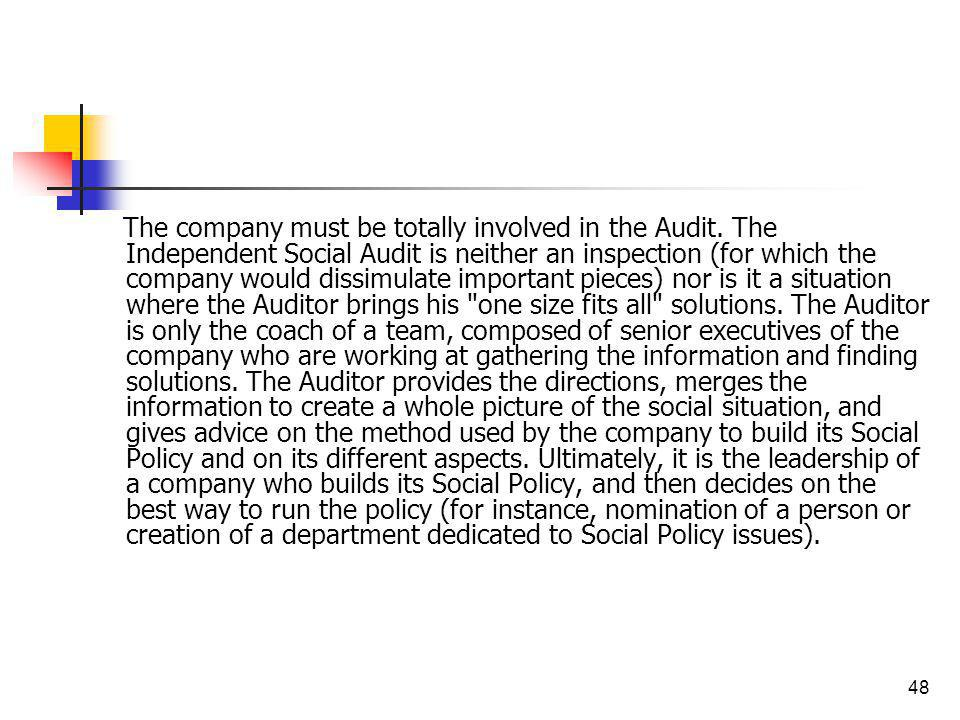 48 The company must be totally involved in the Audit. The Independent Social Audit is neither an inspection (for which the company would dissimulate i