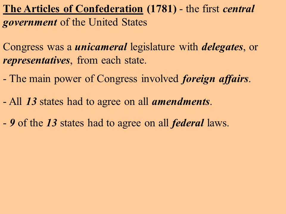 The Articles of Confederation (1781) - the first central government of the United States - 9 of the 13 states had to agree on all federal laws.