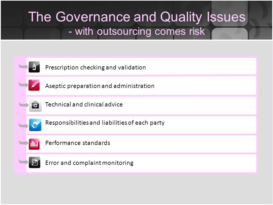 The Governance and Quality Issues - with outsourcing comes risk Prescription checking and validation Aseptic preparation and administration Technical and clinical advice Responsibilities and liabilities of each party Performance standards Error and complaint monitoring