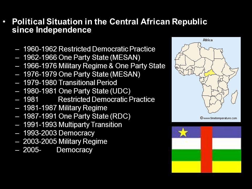 Political Situation in the Central African Republic since Independence –1960-1962 Restricted Democratic Practice –1962-1966 One Party State (MESAN) –1966-1976 Military Regime & One Party State –1976-1979 One Party State (MESAN) –1979-1980 Transitional Period –1980-1981 One Party State (UDC) –1981 Restricted Democratic Practice –1981-1987 Military Regime –1987-1991 One Party State (RDC) –1991-1993 Multiparty Transition –1993-2003 Democracy –2003-2005 Military Regime –2005- Democracy