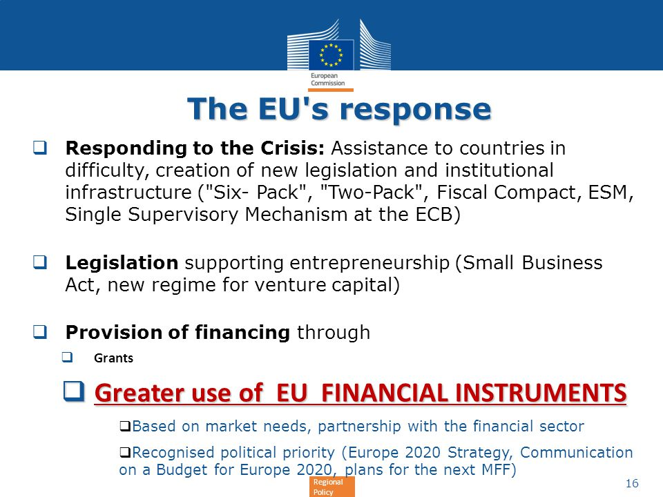 Regional Policy The EU's response Responding to the Crisis: Assistance to countries in difficulty, creation of new legislation and institutional infra