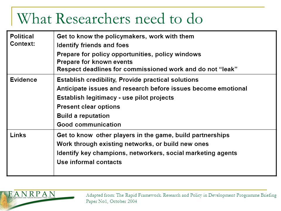 What Researchers need to do Political Context: Get to know the policymakers, work with them Identify friends and foes Prepare for policy opportunities, policy windows Prepare for known events Respect deadlines for commissioned work and do not leak EvidenceEstablish credibility, Provide practical solutions Anticipate issues and research before issues become emotional Establish legitimacy - use pilot projects Present clear options Build a reputation Good communication LinksGet to know other players in the game, build partnerships Work through existing networks, or build new ones Identify key champions, networkers, social marketing agents Use informal contacts Adapted from: The Rapid Framework.